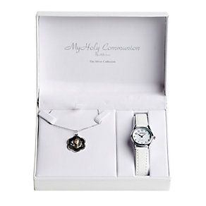 Cailin Communion White Leather Strap Watch & Medal Pendant - Product number 1771868