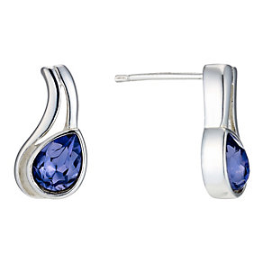 Sterling Silver Purple Crystal Stud Earrings - Product number 1773526