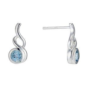 Sterling Silver Blue Topaz Fancy Stud Earrings - Product number 1773550