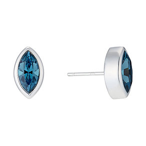 Sterling Silver Teal Crystal Marquise Stud Earrings - Product number 1773577
