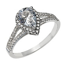 Sterling Silver & Cubic Zirconia Pear Halo Ring Size L - Product number 1773771
