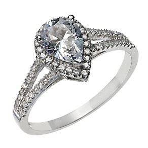 Sterling Silver & Cubic Zirconia Pear Halo Ring Size N - Product number 1773801