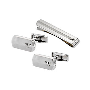 Emporio Armani men's stainless steel cufflinks & tie clip - Product number 1773968