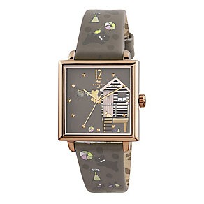 Radley Ladies' Beach Hut Print Slate Leather Strap Watch - Product number 1775049