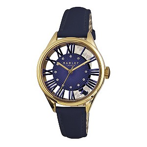 Radley Ladies Gold Plated Navy Leather Strap Watch H