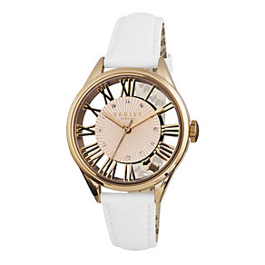 Radley Ladies' Rose Gold-Plated White Leather Strap Watch - Product number 1775073