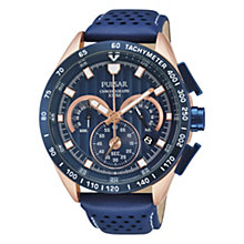 Pulsar Men's Chronograph Watch With Blue Leather Strap - Product number 1775979