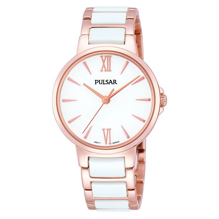 Pulsar Ladies' White Ceramic And Rose Gold Bracelet Watch - Product number 1776193