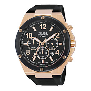 Pulsar Men's Black And Rose Gold Chronograph Sports Watch - Product number 1776258
