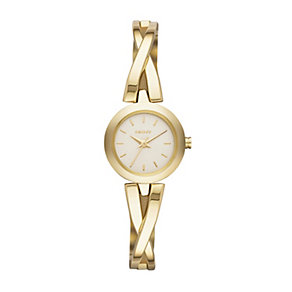 DKNY Crosswalk Ladies' Gold-Plated Semi Bangle Watch - Product number 1776347