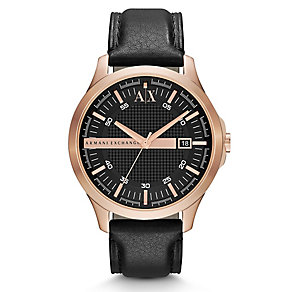 Armani Exchange Men's Smart Black Leather Strap Watch - Product number 1776401