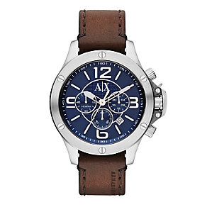 Armani Exchange Active Men's Brown Leather Strap Watch - Product number 1776495