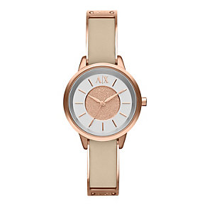 Armani Exchange Smart Ladies' Nude Leather Strap Watch - Product number 1776533