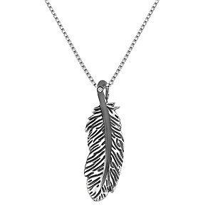 Hot Diamonds silver & black rhodium-plated feather pendant - Product number 1776614