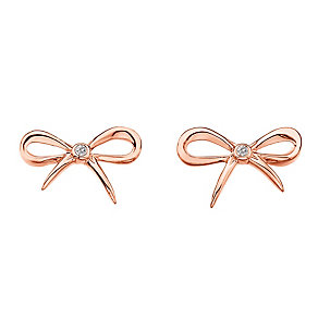 Hot Diamonds Flourish rose gold-plated bow stud earrings - Product number 1776681