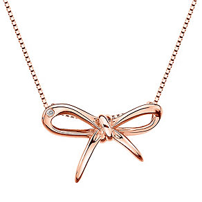 Hot Diamonds Flourish rose gold-plated bow pendant - Product number 1776703