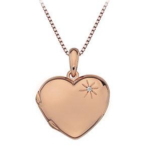 Hot Diamonds rose gold-plated diamond set heart locket - Product number 1776711