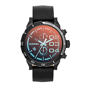 Diesel Double Down 2.0 Men's Black Leather Strap Watch - Product number 1776932