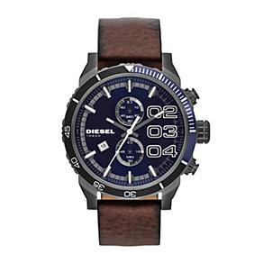 Diesel Double Down 2.0 Men's Black Leather Strap Watch - Product number 1776940