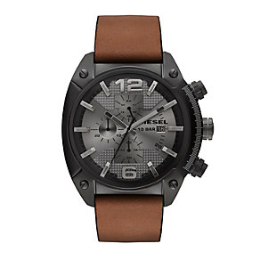 Diesel Overflow Men's Gunmetal Dial Tan Leather Strap Watch - Product number 1776975
