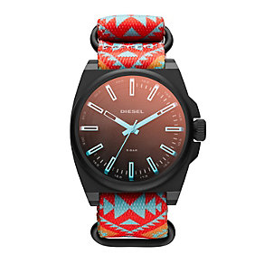 Diesel SC2 Men's Ion-Plated Tribal Print Canvas Strap Watch - Product number 1776991