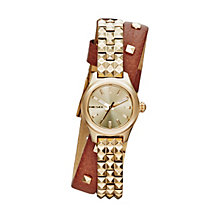 Diesel Ladies' Kray Kray Mini Gold Dial Leather Strap Watch - Product number 1777041