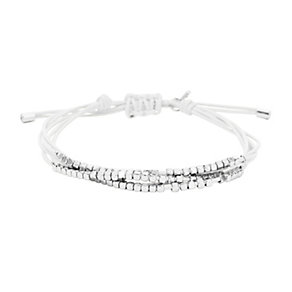 Fossil Silver Tone & White Genuine Leather Bracelet - Product number 1777653
