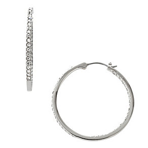 Fossil Vintage Glitz Silver Cubic Zirconia Hoop Earrings - Product number 1777831