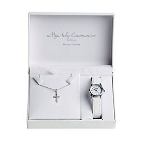 Cailin white leather strap watch & silver cross pendant - Product number 1780468