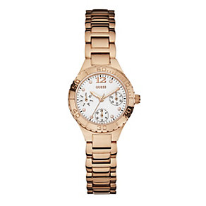 Guess Ladies' White Dial Rose Gold-Plated Bracelet Watch - Product number 1780549
