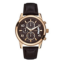 Guess Men's Rose Gold-Plated Brown Leather Strap Watch - Product number 1780557