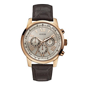 Guess Men's Rose Gold-Plated Brown Leather Strap Watch - Product number 1780581