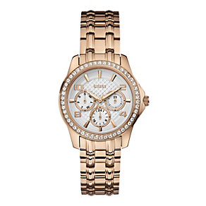 Guess Ladies' Stone Set Rose Gold-Plated Bracelet Watch - Product number 1780611
