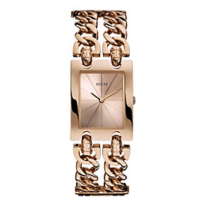 Guess Ladies' Rectangular Rose Gold-Plated Bracelet Watch - Product number 1780646