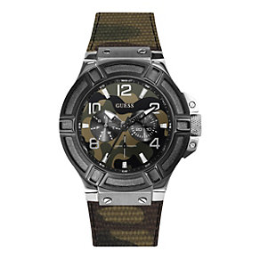 Guess Men's Green Camouflage Leather Strap Watch - Product number 1780662