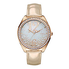 Guess Ladies' Rose Gold-Plated Leather Strap Watch - Product number 1780697