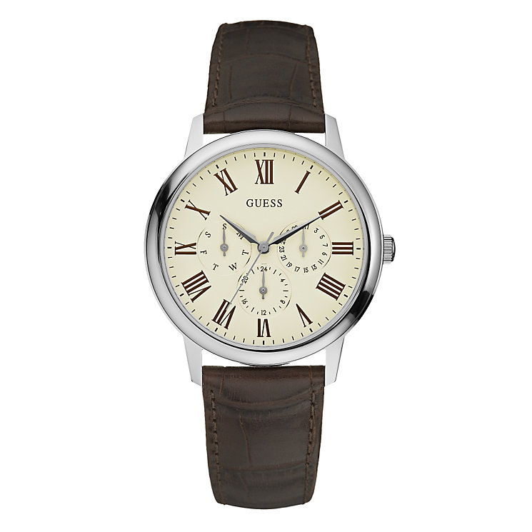 Guess Men's Stainless Steel Brown Leather Strap Watch - Product number 1780727