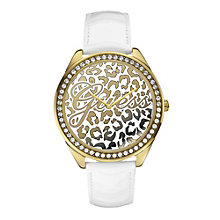 Guess Ladies' Animal Print Dial White Leather Strap Watch - Product number 1780743
