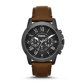 Fossil Grant Men's Black Steel Brown Leather Strap Watch - Product number 1780883