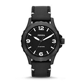 Fossil Nate Men's Black Stainless Steel Leather Strap Watch - Product number 1780913