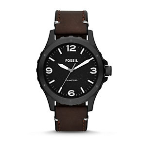 Fossil Nate Men's Black Stainless Steel Leather Strap Watch - Product number 1780921