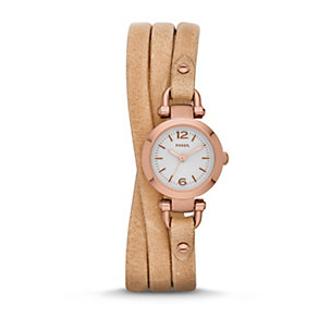 Fossil Mini Georgia Ladies' Triple Wrap Leather Strap Watch - Product number 1780964