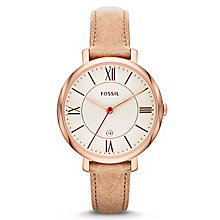 Fossil Jacqueline Ladies' Sand Leather Strap Watch - Product number 1780972