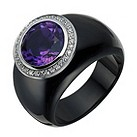Amanda Wakeley black ceramic, amethyst & diamond ring - Product number 1781324