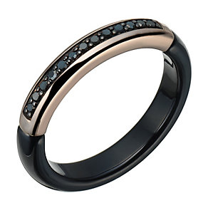 Black Ceramic & Black Coloured Diamond Ring - Product number 1781537