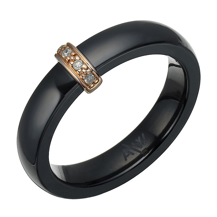 Rose Gold-Plated Black Ceramic & Diamond Ring - Product number 1781707