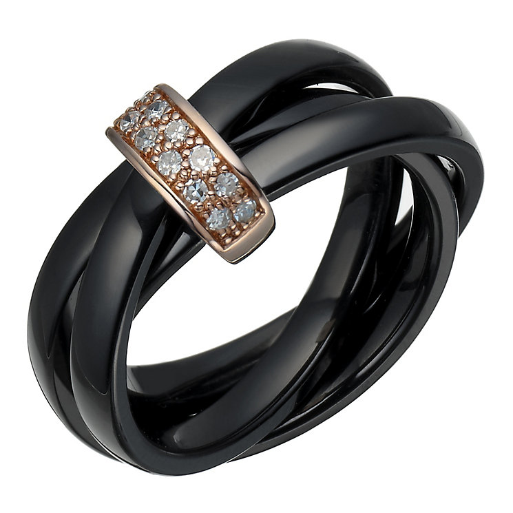 Black ceramic diamond russian wedding ring ernest jones for Russian wedding rings for sale
