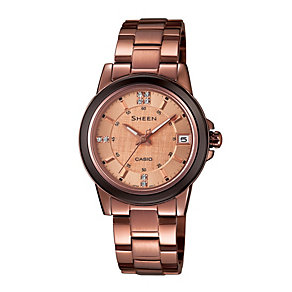 Casio Sheen Ladies' Rose Gold-Plated Bracelet Watch - Product number 1781847