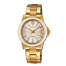 Casio Sheen Ladies' Ceramic Gold-Plated Bracelet Watch - Product number 1781863
