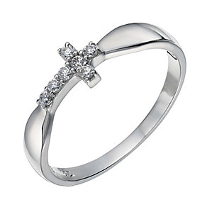 Sterling Silver Cubic Zirconia Sideways Cross Ring Size L - Product number 1782614